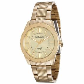 Relógio Feminino Seculus 20364lpsvda1 Dourado Original Loja