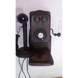Teléfono De Pared Antiguo En Madera Cedro Vintage