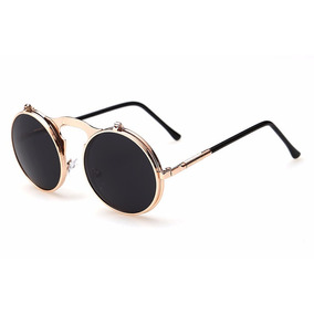 Oculos De Sol Redondo Vintage Dourado Lente Flip Dupla Uv400 6a0a0cebfc