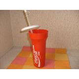 Coca Cola Vaso De Plastico Con Tapa Y Bombilla