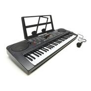 Teclado Musical Piano Organo Electrico 61 Teclas + Mic Black