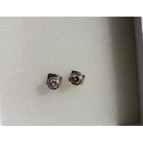 Broqueles De Oro Blanco 14 K Con Diamantes De .45 Pts C/u