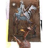 Botella Porron Y Cuadro Don Quijote Antigua