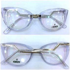 Ff0118 Armação Óculos Feminino Gatinho Acetato Azulado+ Case 027ddfbdce
