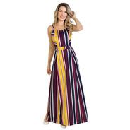 Vestido Longo Listrado Moda Evangélica Alças Feminino Festa