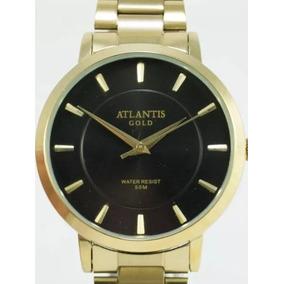 Relógio Masculino Atlantis Prova Dágua Dourado Frete Grátis