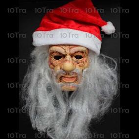 Máscara Pvc Papá Noe Con Barba Y Gorro Navidad Disfraz