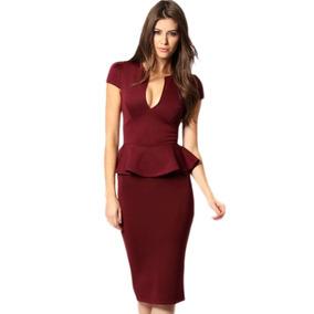 Sexy Vestido Vino Elegante Moda Retro Olan Fiesta Noche 6173