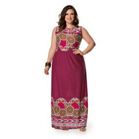 3b456e3bb Vestido Longo Estampado Plus Size - Vestidos Longos Femininas Bordô ...