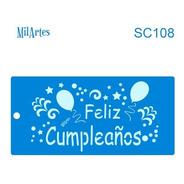 Mil Artes - Stencil Feliz Cumpleaños 10 X 20cm - Sc108