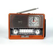 Radio Retro Antigo Vintage Am Fm Bluetooth Usb Sd Relógio