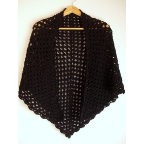 Mantón - Chalina - Chal De Lana Tejido En Crochet