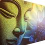 Quadro Imagem De Buda E Flor De Lótus 100x150cm Buddha Zen
