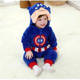 Macacão Pijama Infantil Criança Pelúcia Capitão América