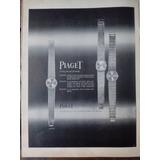 Antigua Publicidad Gráfica De Relojes Piaget 1964 Original!