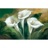 Tela Pintura 90x60 Copo-de-leite Fundo Verde