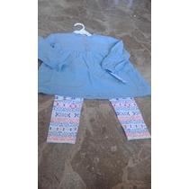Camisa De Jean Y Calza Estampada Niña Carter´s Con Oferta!!