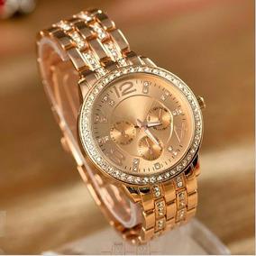Relojes Para Mujer Geneva Metalico Con Brillantes