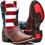 Bota Masculina Texana Country Rodeio Americana Couro Eua