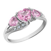 Creado Zafiro Rosa Corazón Anillo Con Diamantes 1.53 Carat