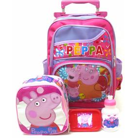 Kit Mochila Infantil Peppa Pig Rodinhas Tam G + Lancheira