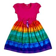 Vestido Pop It Fidget Colorido Arco Iris Infantil Fab1