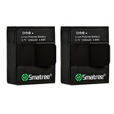 Smatree High Capacity Li-polymer Battery (2-pack) 1290mah Fo
