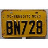 Placa Amarela Antiga Bn728 De Moto Benedito Novo Sc