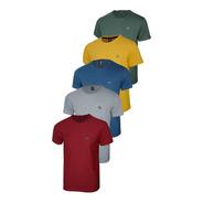 Conjunto Com 05 Camisetas Malha Pontilhada E Logo Metalizado