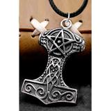 Pingente Martelo De Thor Mjölnir: Pentagrama 4cm Com Colar