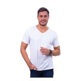 Camiseta Básica Branca Gola V Masculina Uniforme