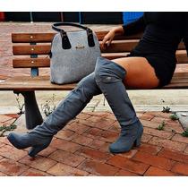 Botas Extra Largas Grises Tacón Grueso De Vestido O Pantalón