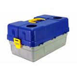 Estojo Caixa Hi 6 Bandejas Azul C/2 Porta Copos Grande+brind