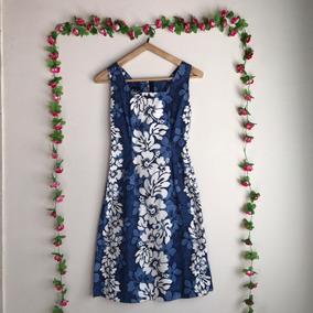 Vestido Hawaiano Original Azul Con Flores - 100% Algodón