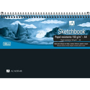 Caderno Sketchbook Espiral Capa Plástica A4 50 Folhas
