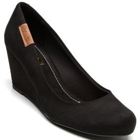 Sapato Moleca Camurça Anabela Feminino