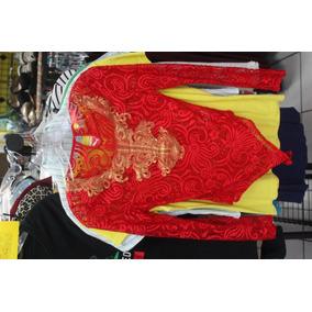 Leotardo De Encaje Rojo, Con Decorados Bordados Dorados