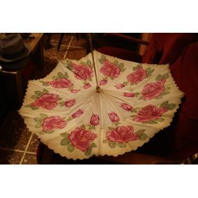Antiguo Paraguas Con Pedrería Doble Campana,
