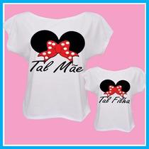 Blusa Camiseta Tal Mãe Tal Filha Minnie Laço Vermelho