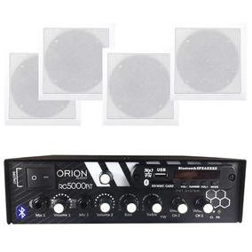 Kit Som Ambiente 300w Bluetooth + 4 Caixas P/gesso Brancas