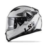 Capacete Ls2 Stream Ff320 Garage Fechado Moto Branco Preto