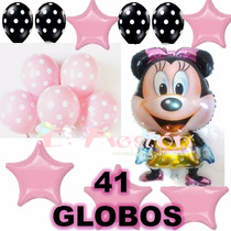 37 Globos Tipo Mimi Mouse,minnie Moño Rosa,globo Polka,fiest