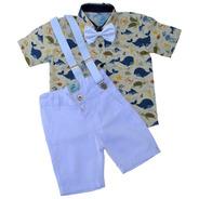 Conjunto Festa Aniversário Roupas Social Menino Camisa Social Infantil Bermuda Social Gravata E Suspensorio