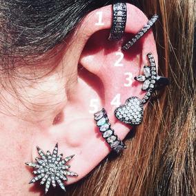 Piercing Falso Fake Earcuff Orelha Ear Cuff Prata Ouro Grafi