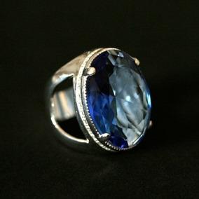 Anel De Prata 925 Com Pedra Azul Cristal