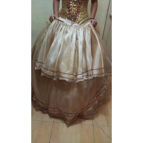 Vestido De 15 Años Dorado Corse Bordado A Mano