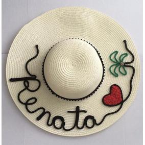Chapéu De Praia Customizado Personalizado C/ Nome E Coqueiro