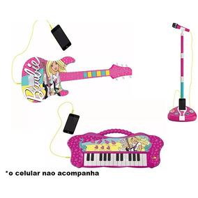 Guitarra Teclado E Microfone Infantil Barbie Fabulosa