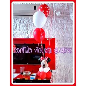 Centro De Mesa Minnie Mickey Con Globos Helio