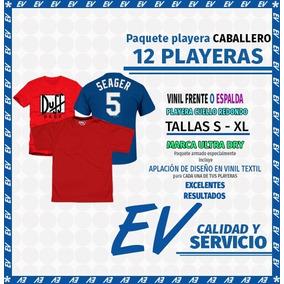 Paquete 12 Playeras Caballero Dry Fit, Con Vinil Textil